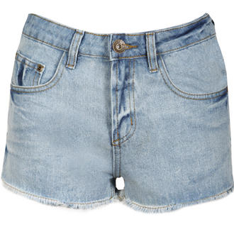 View Item Stone Wash Denim High Waisted Shorts